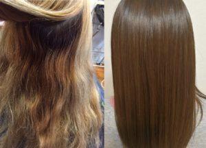 髪質改善をした髪のビフォーアフター写真